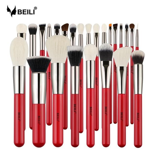 Conjunto de pinceles de maquillaje de pelo Natural profesional de 25 piezas de rojo de BEILI, base de polvo, sombra de ojos, contorno de Delineador de Ojos de cejas