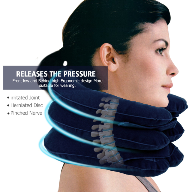 US Stock3 Layer Inflatable Air Cervical Neck Traction Device Soft Neck Collar for Pain Relief Neck Stretcher Pain Releave 1