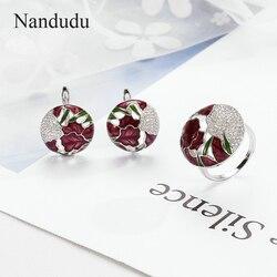 Nandudu Цвет глазированные украшения Этнические Дизайн Цветок Ювелирные наборы эмаль кольцо и серьги узор Для женщин Аксессуары для девочек
