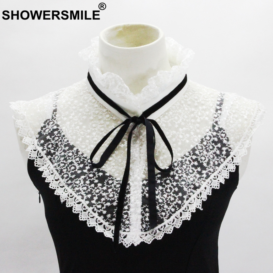 SHOWESMILE Women Detachable Collar Lace White Fake Collar Stand 5cm Drawstring Female Faux Collar Trendy Ladies Accossaries