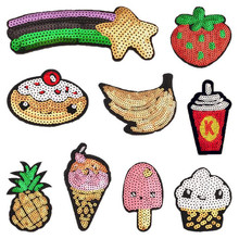 1Pcs Fruit Sequins Beads Patch for Clothing Iron on Embroidered Sew Fabric Badge Garment DIY Apparel Accessories