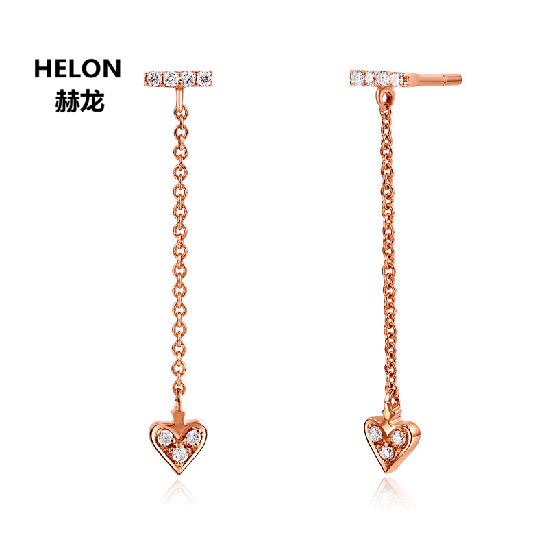 Solid 18k Rose Gold Natural Diamonds Women Drop Earrings Heart Shape Engagement Wedding Earrings Fine Jewelry beibehang decoration velvet floral wallpaper roll flocking flower wall paper mural wallpaper for living room papel de parede 3d