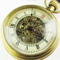 old Good Brass Antique Small Pocket Watch+Leather Chain