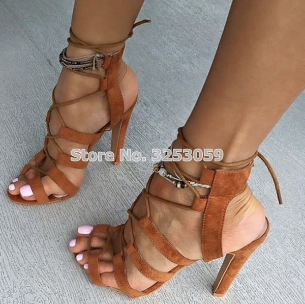 b517f36b2176 ALMUDENA Women Brown Suede Concise Strappy Sandals Chunky Heel Lace UP  Cut-out Open Toe