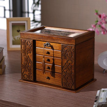 The new wooden jewelry box Storage Box retro wood clover cosmetic boxes with lock special offer Organization case 34*23*25cm