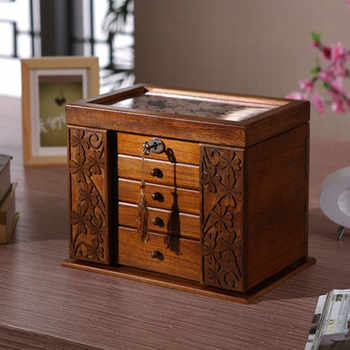 The new wooden jewelry box Storage Box retro wood clover cosmetic boxes with lock special offer Organization case 34*23*25cm - DISCOUNT ITEM  49% OFF All Category