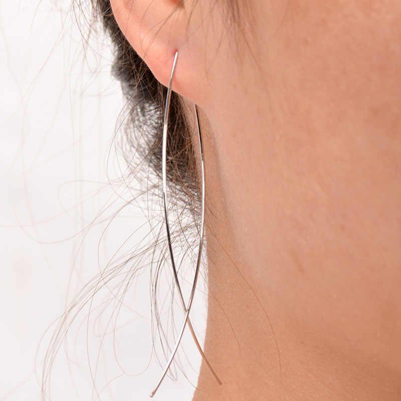 แฟชั่นใหม่พังก์สีทองที่เรียบง่ายยาวลวดปลาต่างหูสตั๊ดสำหรับผู้หญิงวิจิตรหูยาวต่างหูเครื่องประดับ