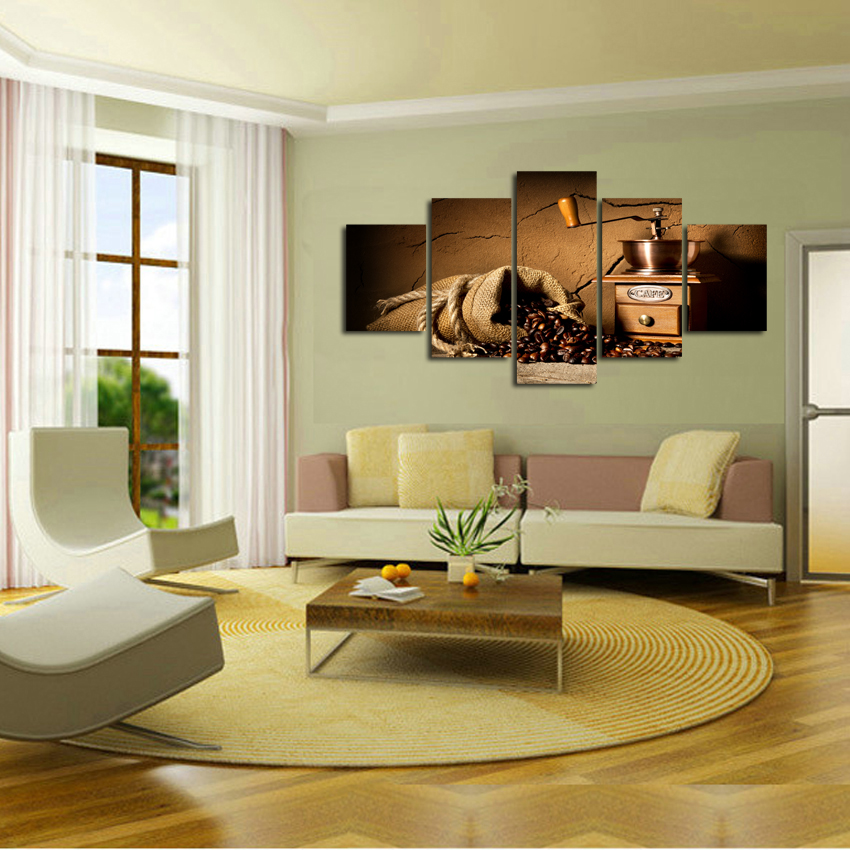 Free shipping coffee machine Pictures Coffee Beans Wall Canvas Pictures For Home Decor Decoration Infantiles Poster Retro A107