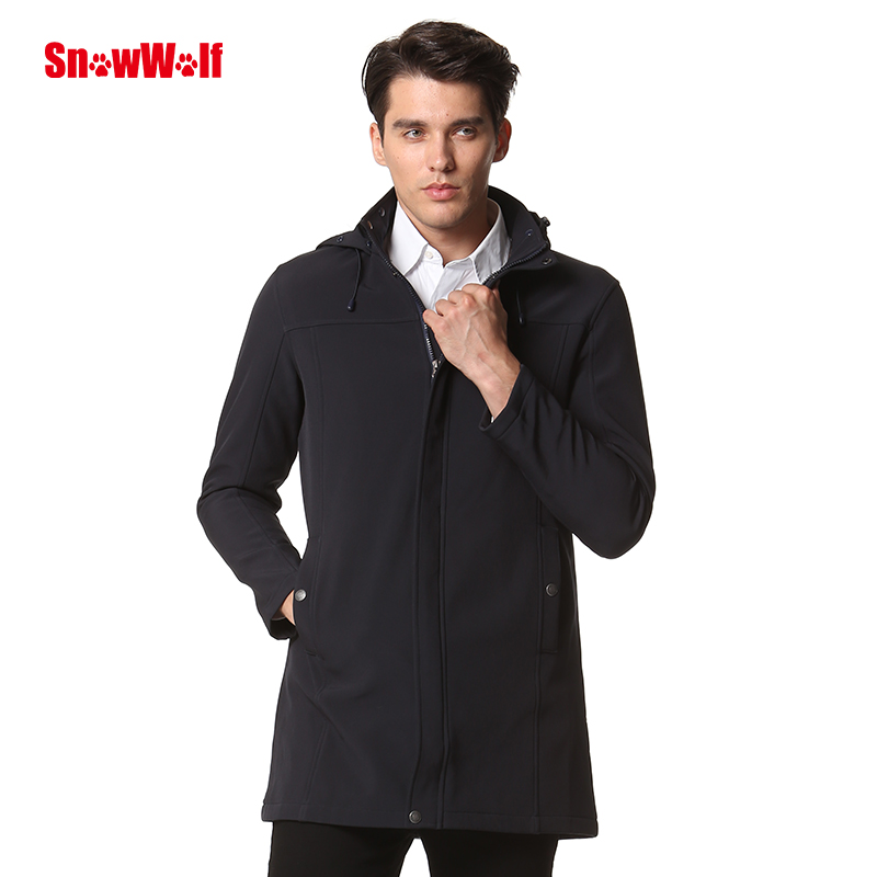 SNOWWOLF Outdoor Waterproof Softshell Men's Long Jacket winter overcoat with Hood for Camping Hiking