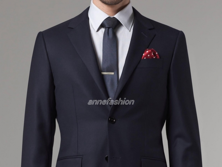 Custom made 150's high quality worsted pure wool dark Navy Suit ...