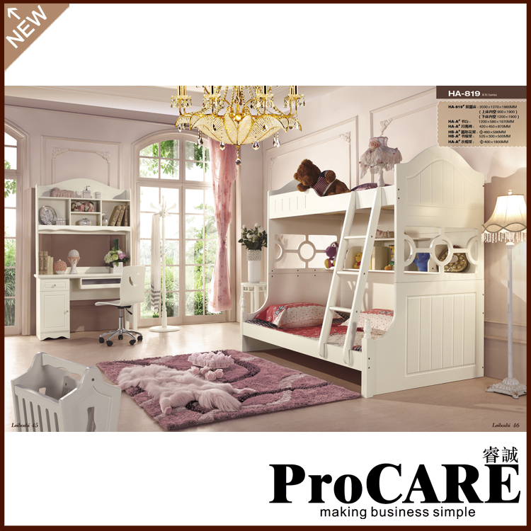 Practical Bunk Bed White Colour Children Bedroom Furniture Sets Twins Bed