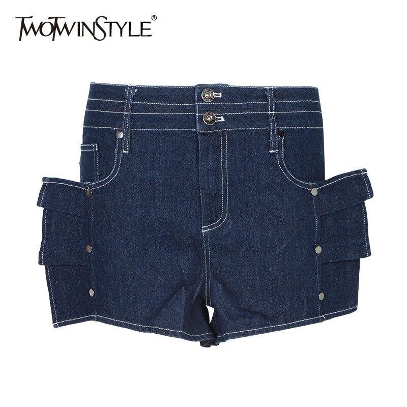 TWOTWINSTYLE Sexy High Waist Shorts For Women Slim Ruffles Slim Denim Shortses Female Fashion Clothes 2019 Summer New Tide