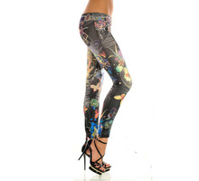 Elastic Butterfly Print Denim Leggings