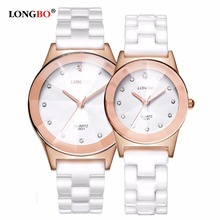 LONGBO Top Brand Fashion Quartz White Ceramic Lovers Watches Luxury Casual Unique Ladies Wristwatch Female Watch 2019 passed longbo quartz 8701a page 2