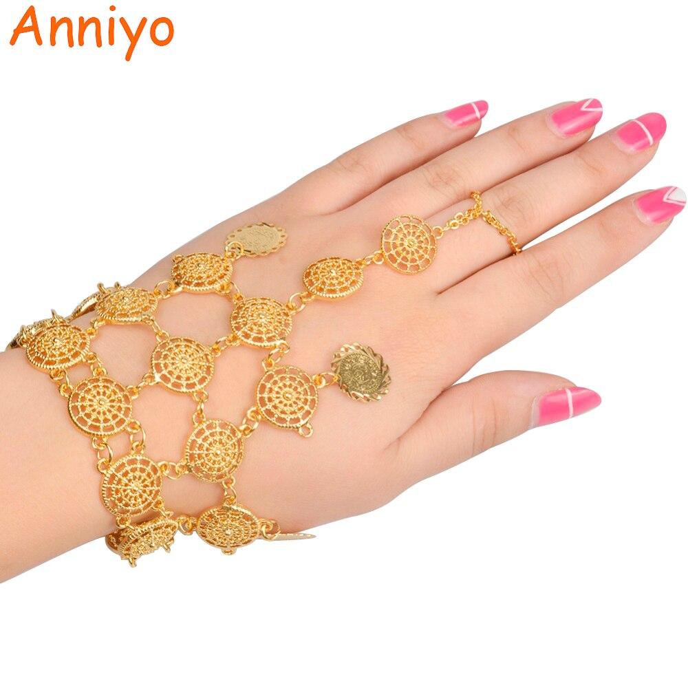 Anniyo Länge 22 Cmtürkei Münze Armband Neue Für Frauen Gold Farbe