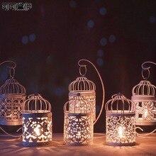 1 candelabro blanco hueco candelabro colgante farol jaula de pájaro forjado Vintage nueva decoración de la Mesa del hogar portavelas