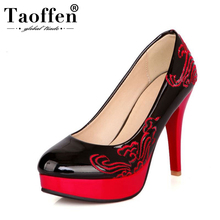 TAOFFEN size 28-48 printed leather women high heel shoes new