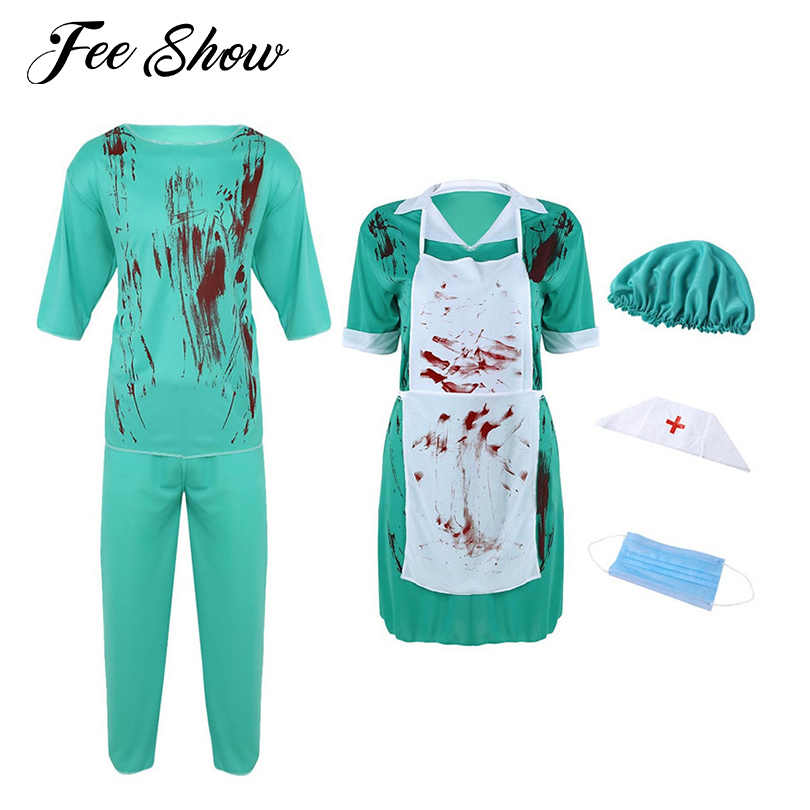 855dde7cf5b42 Detail Feedback Questions about Adult Mens Surgery Doctor or Women Nurse  Horrible Bloody Cosplay Costume Uniform Suit Halloween Carnival Fancy Dress  ...