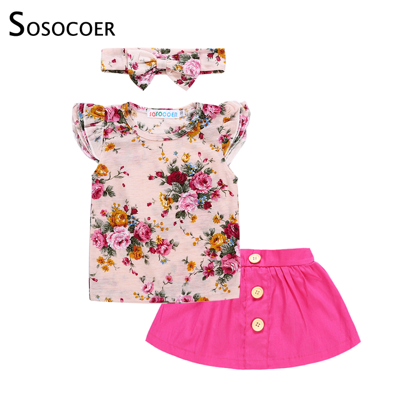SOSOCOER Baby Girl Clothes 2018 Summer Girls Clothing Set Floral T Shirt Skirt Headband Fashion Children Outfits Kids Clothes