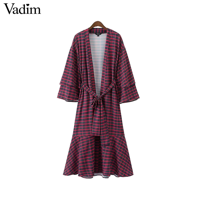 Vadim women retro V neck plaid wrap dress bow tie sashes ...