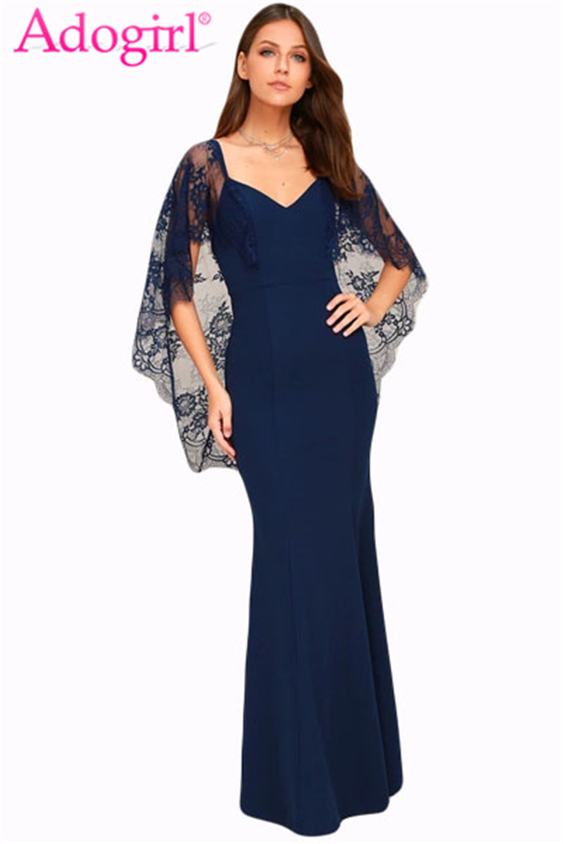 Adogirl Sexy V Cut Open Back Lace Cape Sleeve Maxi Evening Gown Fashion Women Mermaid Prom Formal Party Dresses Long Vestidos