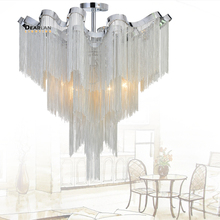 French Empire Chain Chandelier Light Fitting Aluminum Silver Hanging Lamp Luminaire Project Chandeleir Lustre