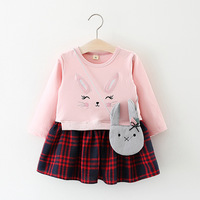 Baby Girl Clothes Suit Cartoon Rabbit Printed Long Sleeve Girls Grid Dress Autumn Baby Kids Dresses