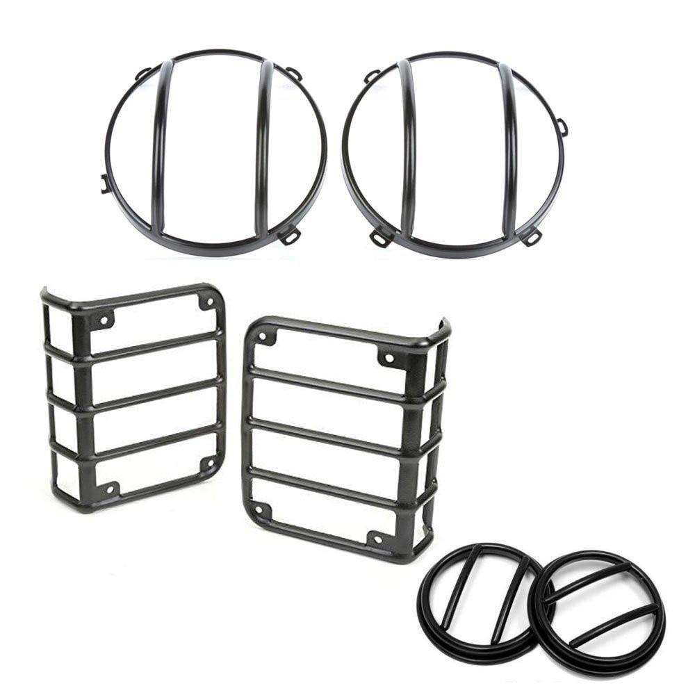 set Lantsun J012 Light Guards Full Set for 2007-2017 Jeep Wrangler JK Unlimited pair j078 lantsun black hood locking catch kit for jeep wrangler jk unlimited