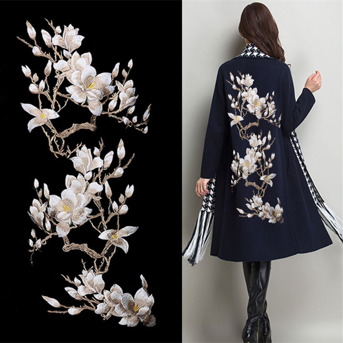 Magnolia Flower Кескіндеме Үлкен Applique Patch Lace мата Sew On Шүберек Dress Decoration Stick Аксессуары Beige Lace Fabric