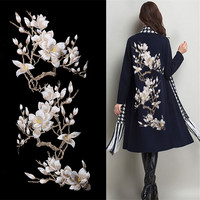 Magnolia Flower Embroidery Large Applique Patch Lace Fabric Sew On Cloth Dress Decoration Stick Accessory Beige Lace Fabric