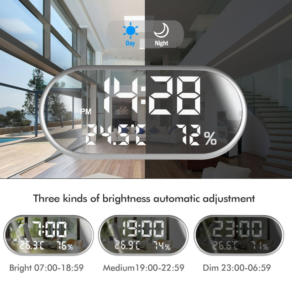 Цифровой будильник портативное зеркало HD светодиодный дисплей со временем/влажностью/температурой/функцией отображения USB порт зарядки|Будильники|   | АлиЭкспресс