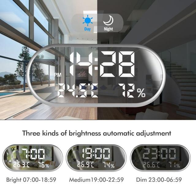 Reloj despertador Digital portátil espejo HD pantalla LED con tiempo/humedad/temperatura/función de visualización Puerto USB carga