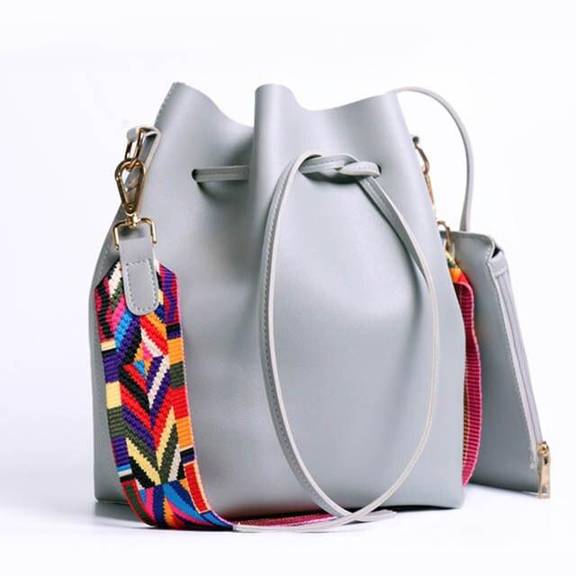 Online Shop DAUNAVIA Women bag with Colorful Strap Bucket Bag Women PU  Leather Shoulder Bags Brand Designer Ladies Crossbody messenger Bags  0fdb5f87f4a31