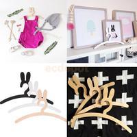 Coelho adorável bebê crianças de madeira coelho roupas cabide casa decoração do quarto|hanger decor|decorative hangers|decorative clothes hanger -