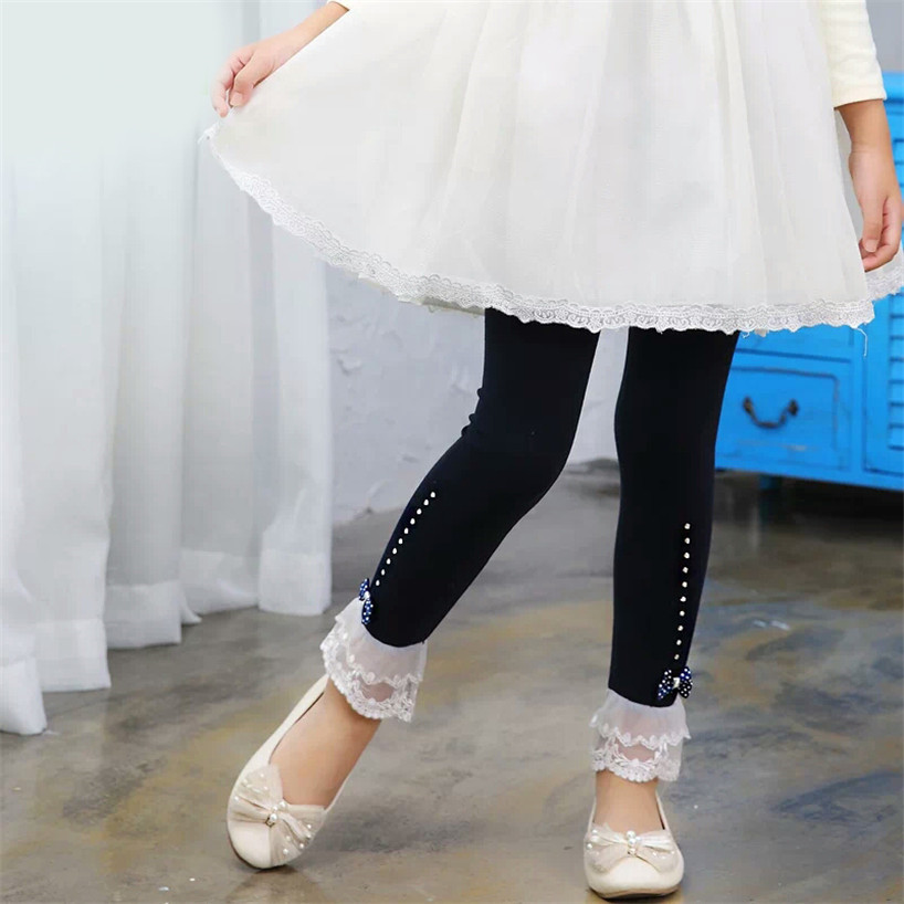 03efa8e172485 Girls pants autumn lace trim ruffle rhinestone kids legging for girls  trousers cotton toddler leggings children clothes 2 10Yrs-in Pants from  Mother & Kids ...