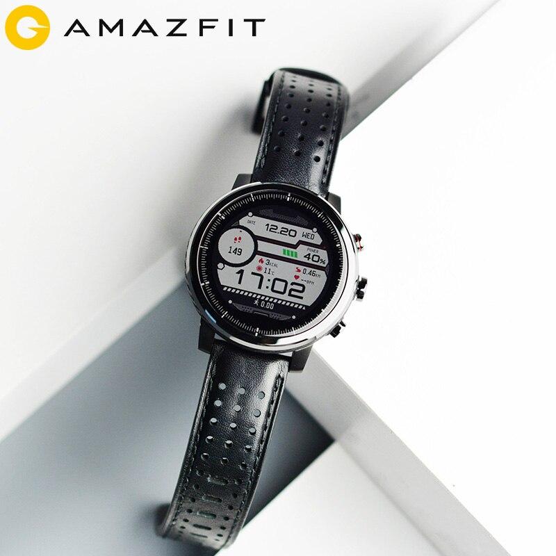 2019 nuevo Amazfit Stratos + reloj inteligente insignia correa de cuero genuino caja de regalo zafiro 2S - 4