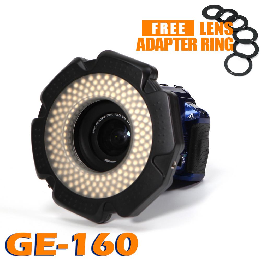 Prix pour 85% CRI 160 Puces Dimmable LED Anneau de Lumière pour DSLR DV caméscope Vidéo 5600 K AA Batterie Puissance Source Livraison Lentille Adaptateur Anneau