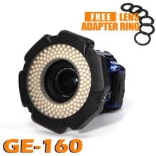 Selens LED فيديو مصباح مصمم على شكل حلقة 160 رقائق عكس الضوء LED ل DSLR DV مسجّل وكاميرا فيديو 5600K مصدر حر محول العدسة حلقة حلقي مصباح