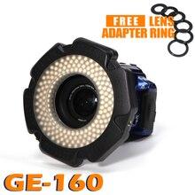 Selens LED video Ring Licht 160 Chips Dimbare LED voor DSLR DV Camcorder Video 5600 k Bron Gratis Lens Adapter ring Ringvormige Lamp