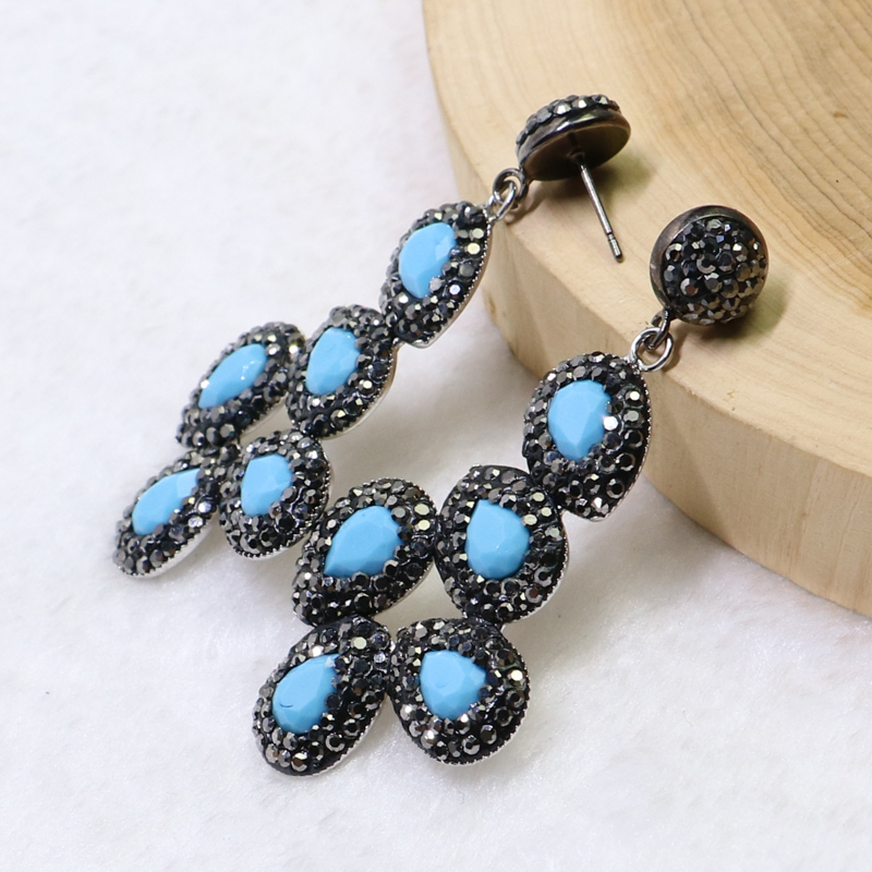 3 Pairs Flower shape earrings Pave rhinestone &Natural pearls  earrings  Mix color  stone earrings Gift for lady 6015