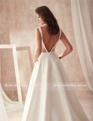 Famous Design Satin Wedding Dress with Pocket V-neck Cutout Side Open Back Bridal Dress Pocket vestido longo de festa 6