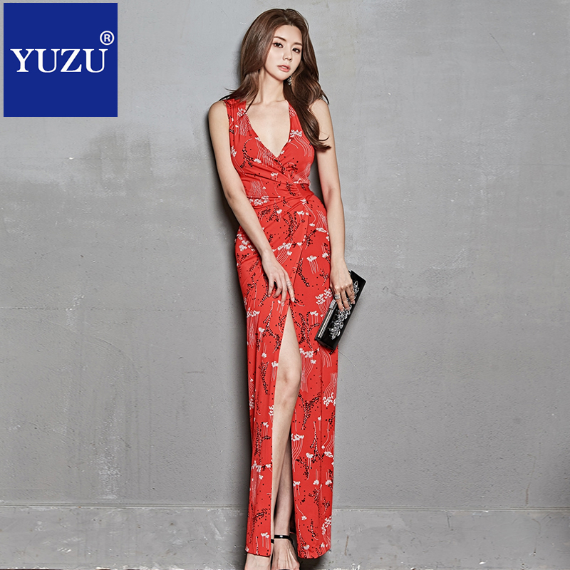 Red Maxi Dress Women Sexy Party Floral Print Deep V-Neck Sleeveless Draped Long Dress Club Dinner Special Occasion Dresses