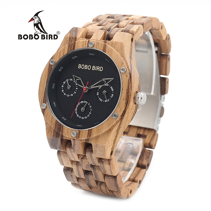 BOBO BIRD CEN11 Six Hands New Wooden Watch Men Top Brand Luxury Uomo Orologio Fashion Watches for Men in Paper Gift Box