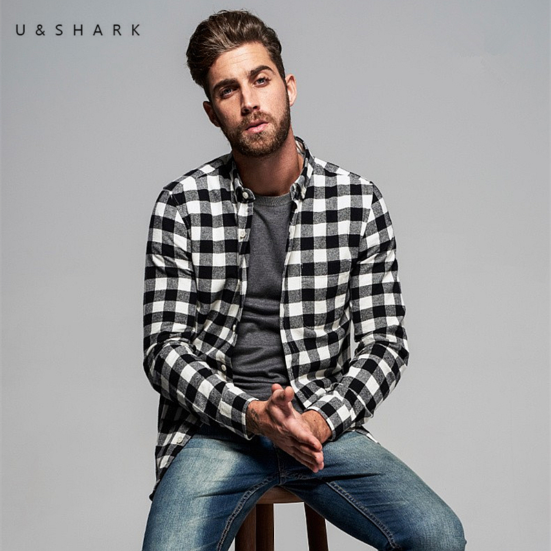 U shark british style long sleeve casual black plaid shirt for How to wear men s flannel shirts