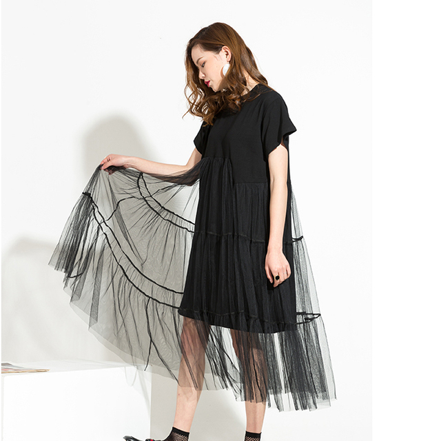 [EAM] Women Black Temperament Irregular Mesh Dress New Round Neck Long Sleeve Loose Fit Fashion Tide Spring Summer 2020 3361L 4