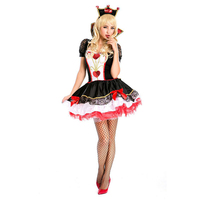 VASHEJIANG Amazing Poker Queen of Hearts Costume Adult Halloween Costumes for Women Carnival Sexy Anime Fancy Party Dress Outfit