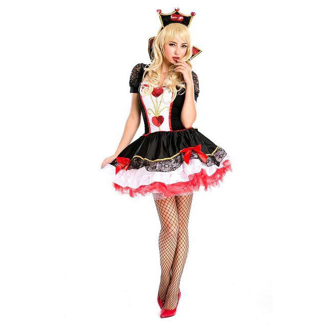 VASHEJIANG Amazing Poker Queen of Hearts Costume Adult Halloween ...
