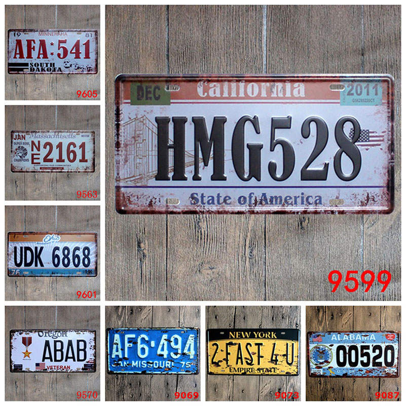 Retro Vintage Car License Metal Plate Plaque Car Number Tin Signs Bar Pub Cafe Decor Metal Sign Garage Painting Plaque Sticker