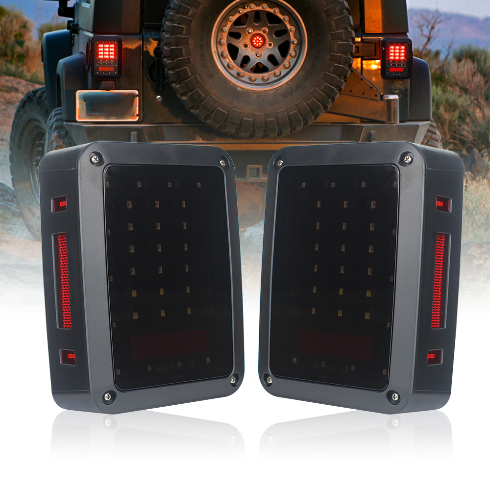 Smoked LED Tail Lights For JK 2007 2015 Jeep Wrangler With Running Brake Backup Reverse Turning