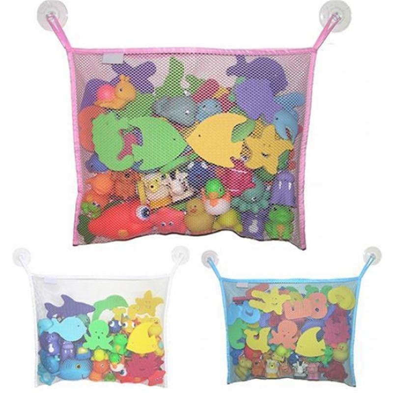 Cartoon Cute Bathroom Hanging Storage Basket Baby Kids Bathing Toy Storage Organizer Bathroom Folding Mesh Storage Baby Kids